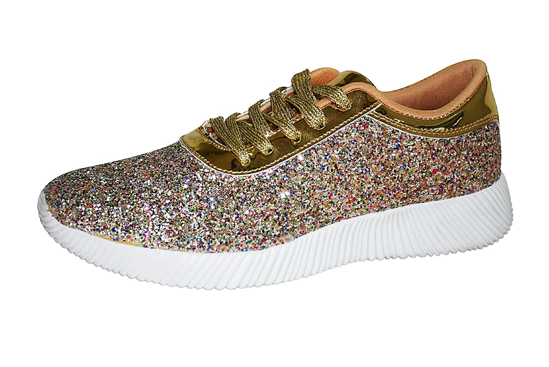 ROXY ROSE Womens Lace up Glitter Shoes Fashion Metallic Sequins Light Weight Sneaker B0799KBZHH 10 B(M) US|Gold Multi