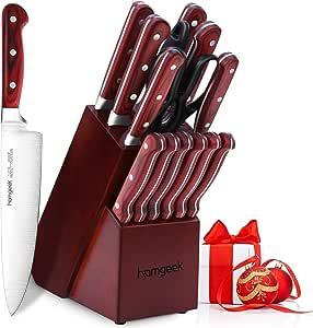 homgeek Cuchillos de Cocina 15 Piezas, Juego de Cuchillos ...