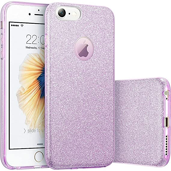 best sneakers 431e1 3bcd8 ERAGLOW iPhone 8 Case,iPhone 7 case, iPhone 7 8 Back Cover Shinning  Protective Bumper Sparkle Bling Glitter Case for 4.7 inches iPhone 7/8  (Purple)