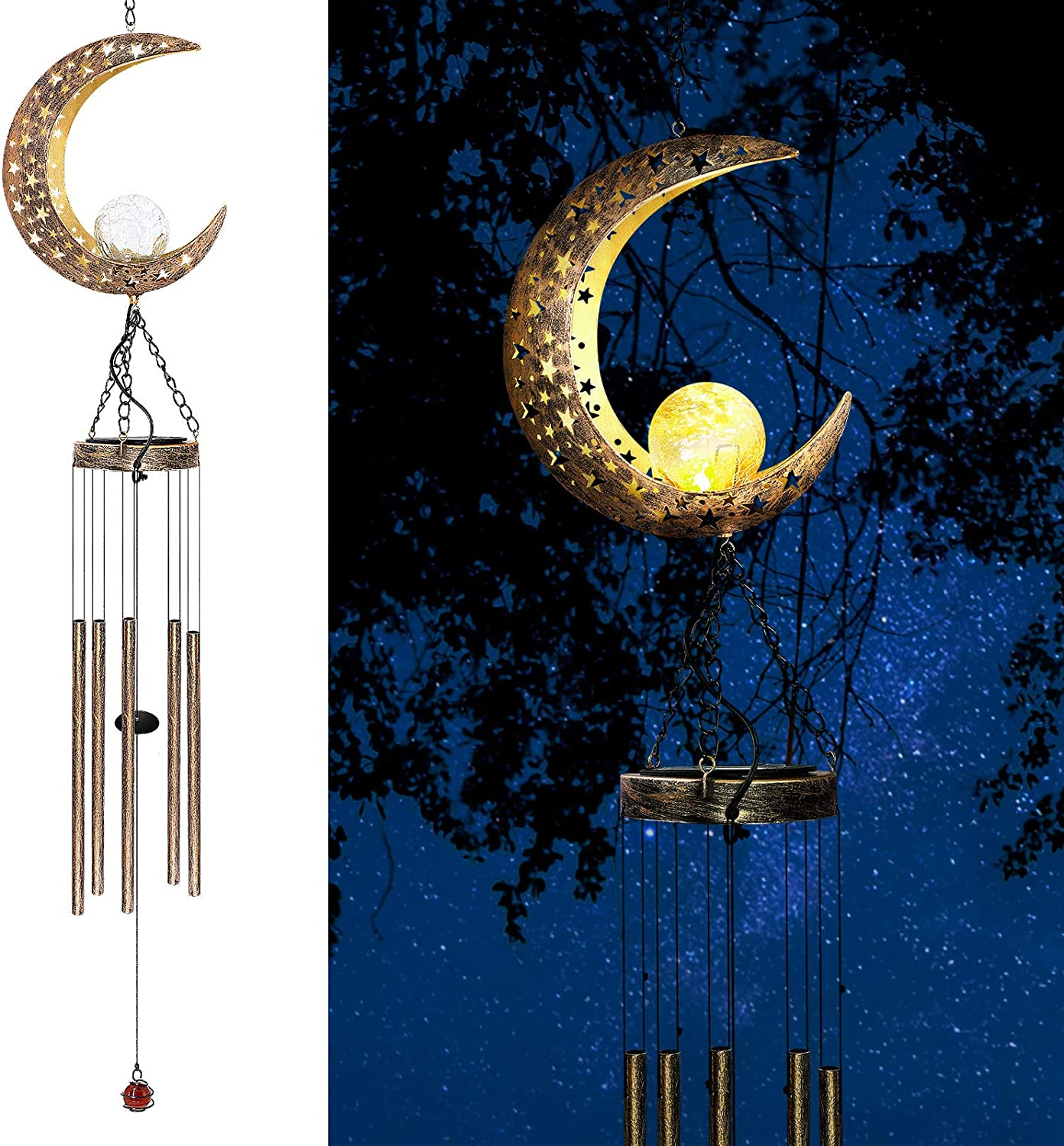 AceList Moon Solar Wind Chimes for Outside, for Dad Grandpa Birthday Gifts from Daughter and Son, Mom and Dad Gifts for Patio, Porch, Deck, Garden Home Decor