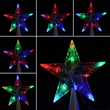 led indoor outdoor christmas tree topper star lights lamp xmas decoration 100 240veu