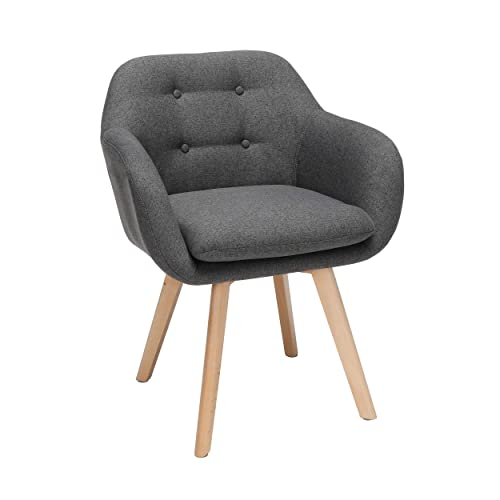 OFM 161 Collection Mid Century Modern 2 Pack Tufted Fabric Accent Chair with Arms, Dining Chair, Solid Beechwood Legs, in Dark Gray 161-FACA-DGRY
