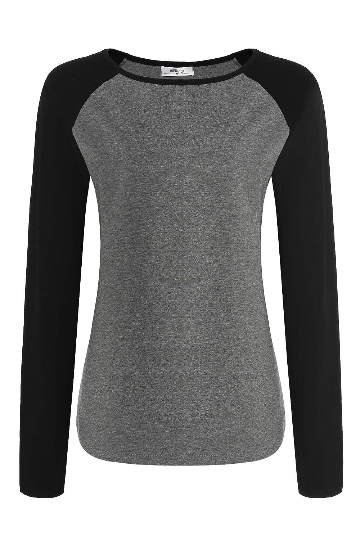 Meaneor Women Autumn Casual Long Sleeve Colorblock Baseball T-Shirt Blouse Tops