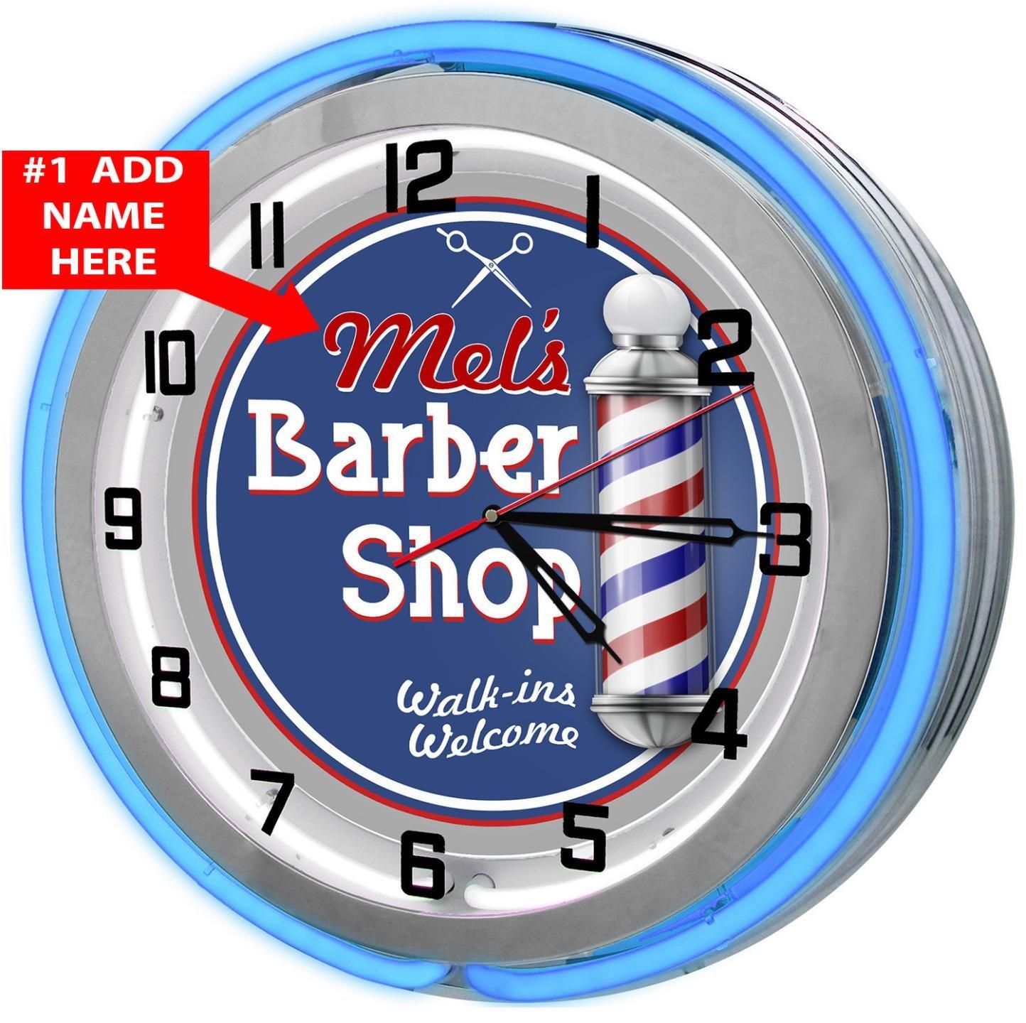Personalized Barber Shop 18'' Blue Double Neon Garage Clock from Redeye Laserworks
