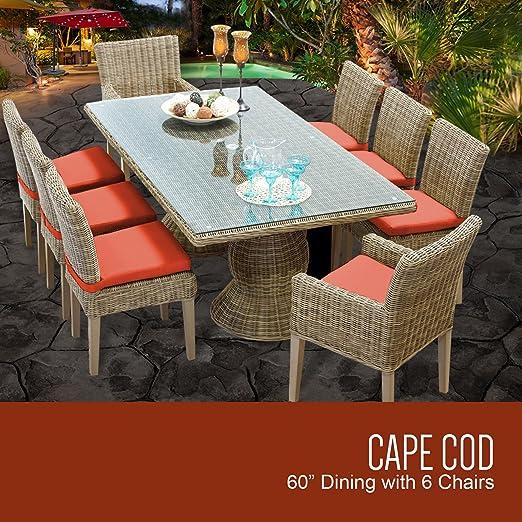 TK Classics Cape Cod piedra rectangular al aire libre Patio mesa ...