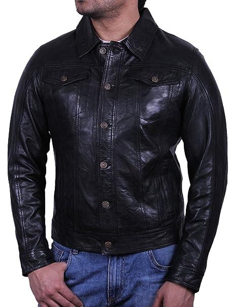 Brandslock Para hombre Vintage chaqueta de motociclista de cuero piel de oveja Real (X-