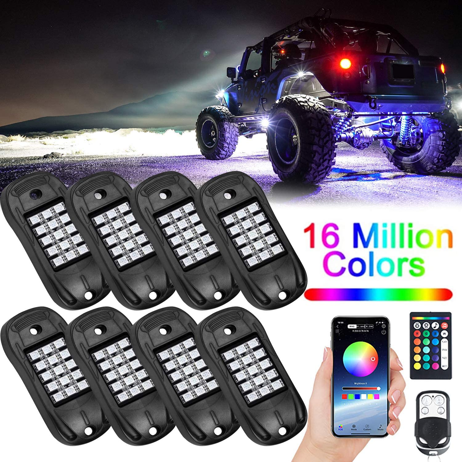 8 Pods Waterproof LED RGB Rock Lights Phone Remote Timing Music Mode Multicolor Neon LED Light Kit Waterproof AUTO Wheel Exterior Underglow Lighting Compatible with Jeep Under Car Truck SUV Off Road