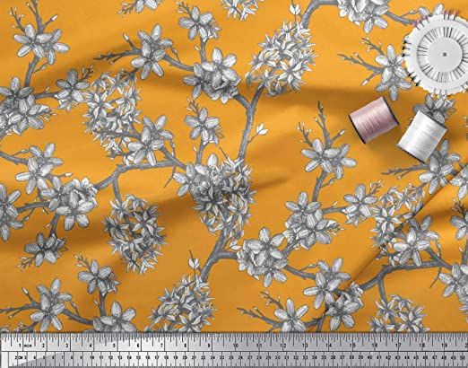 Soimoi Naranja popelina de algodon Tela flor de magnolia y ...