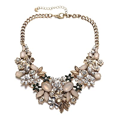 603afcd23 Vintage Gold Tone Collar Chain Sparkly Crystal Choker Necklace for Party  (Brown Gold Statement Necklace): Amazon.ca: Jewelry