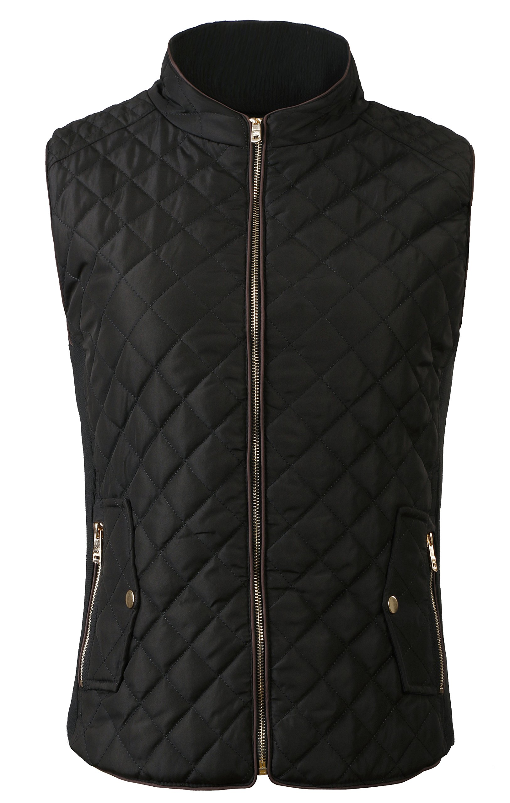 fanhang Women's Lightweight Quilted Zip Up vest (L, Black 1)