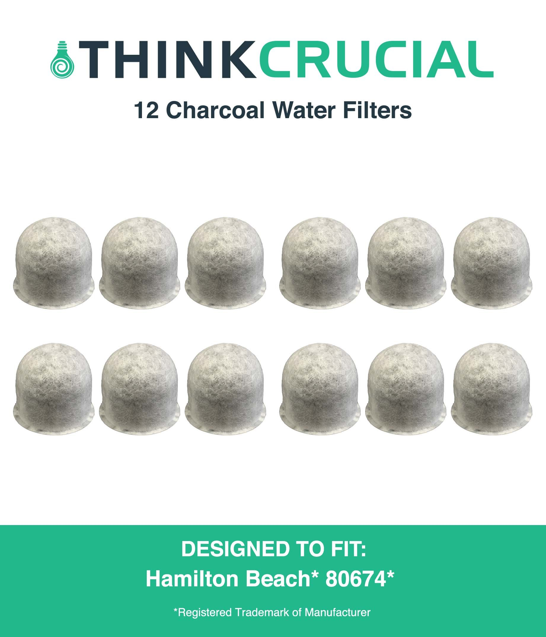 Think Crucial 12 Replacements for Hamilton Beach Charcoal Water Filters, Compatible With Part # 80674, Fits Mod Cafe, Stay or Go & Brew Station