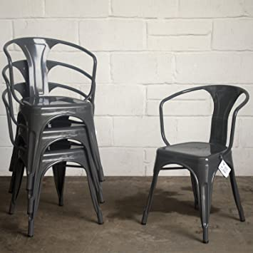 Marko Furniture Set Of 4 Metal Industrial Dining Chair Kitchen Bistro Cafe Vintage Rustic Tolix Style