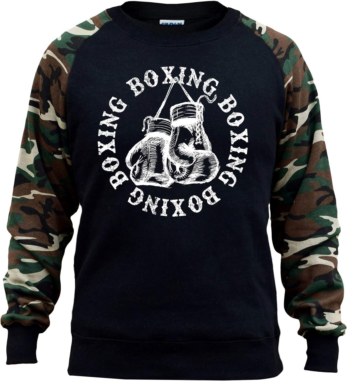 Koyotee Mens Boxing Gloves Circle Black//Camo Raglan Baseball Sweatshirt Black