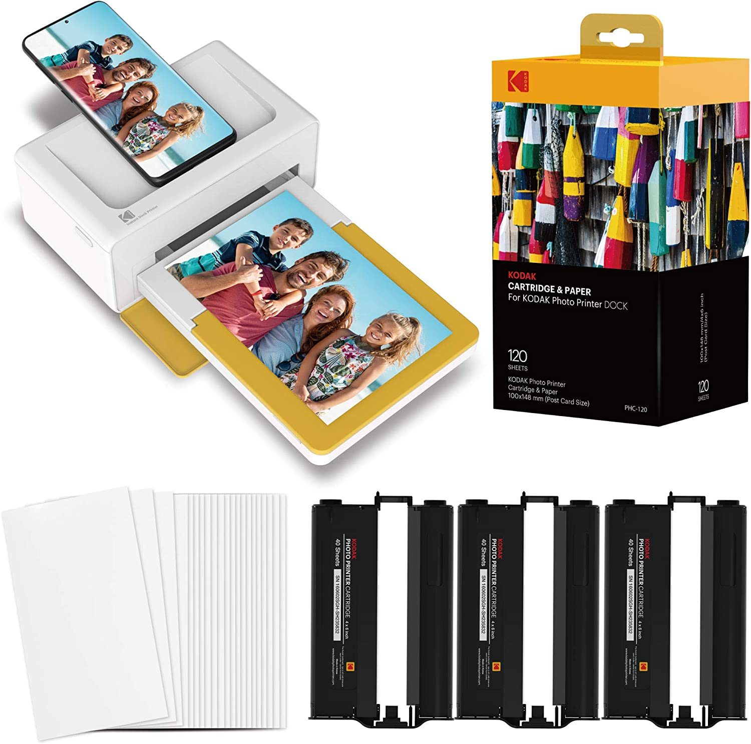 "Kodak Dock Plus Portable Instant Photo Printer, Compatible with iOS, Android & Bluetooth Devices, Real Photo (4""x6""), 4Pass & Lamination Process, Premiun Quality - Convenient and Practical–120 Sheets"