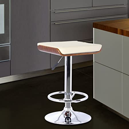 Armen Living LCJABACRWA Java Barstool in Cream Faux Leather and Chrome Finish, Walnut Wood Finish