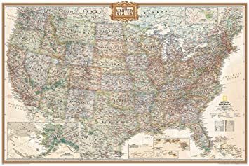 Amazon.com: Executive US Push Pin Travel Map 24x36 (Produced by ...