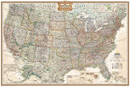 Amazoncom Executive Us Push Pin Travel Map 24x36 Produced By - National-geographic-us-map