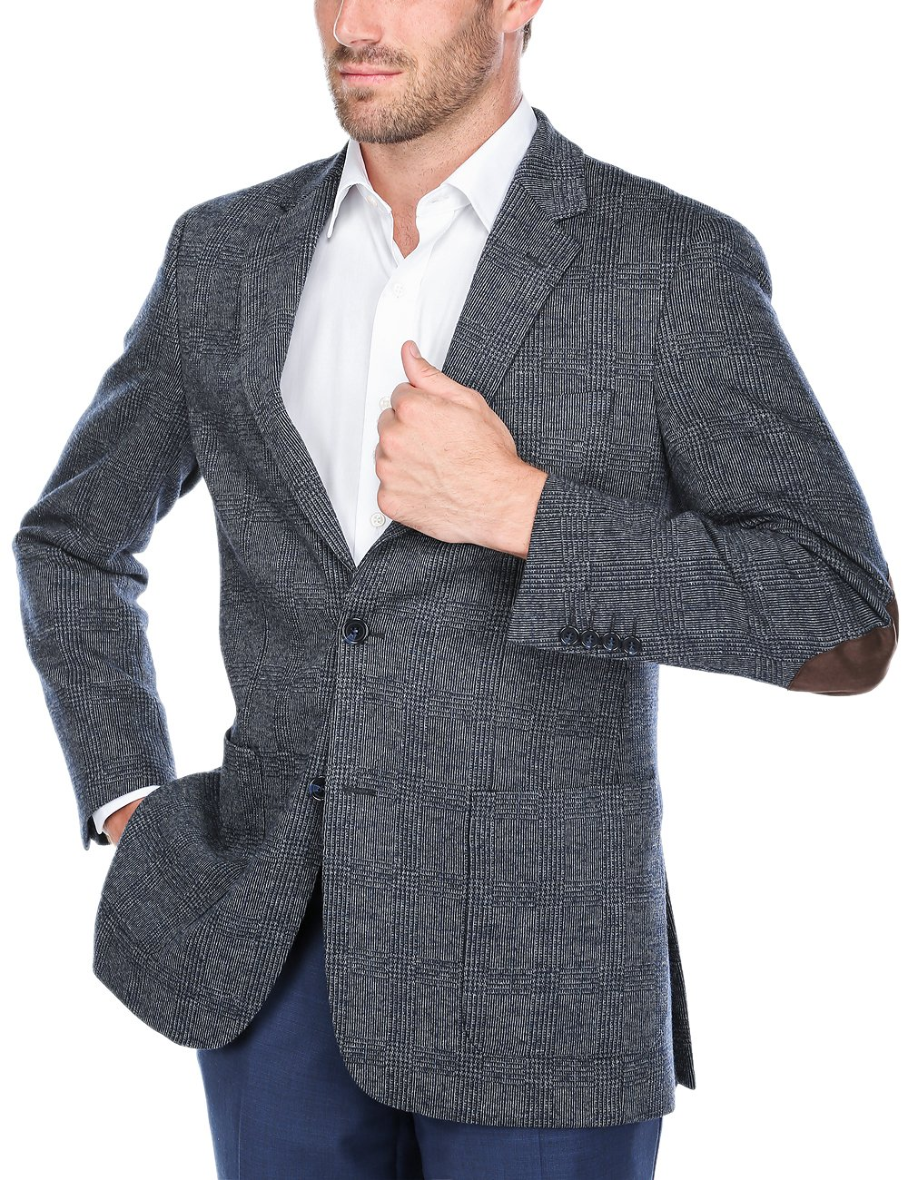 Chama Men's Two Button Single Breasted Classic Fit Sport Coat Wool Blazer (Navy&Grey, 40R)