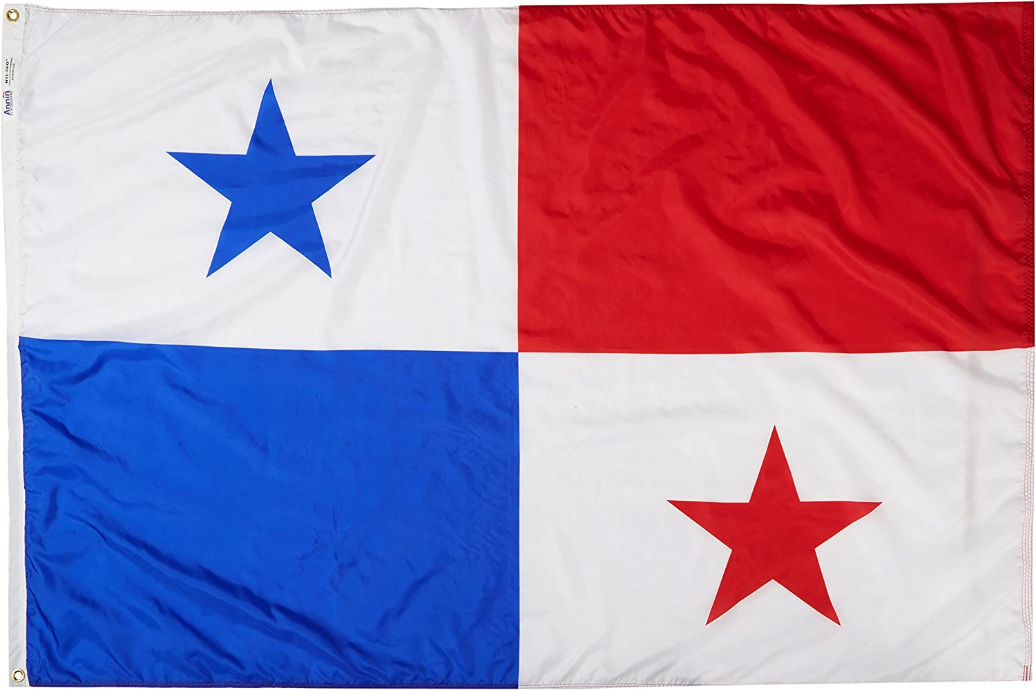 Annin Flagmakers Model 196544 Panama Flag Nylon SolarGuard NYL-Glo, 4x6 ft, 100% Made in USA to Official United Nations Design Specifications