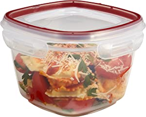 Rubbermaid Lock-Its Square Food Storage Containers with Easy Find Lids, 7 Cup, Racer Red 1778069