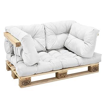 [en.casa] Cojines para sofá de palés europalés - set- 1 cojín de asiento + 4 cojines de respaldo blanco - muebles DIY - ideal para salón - sala de ...