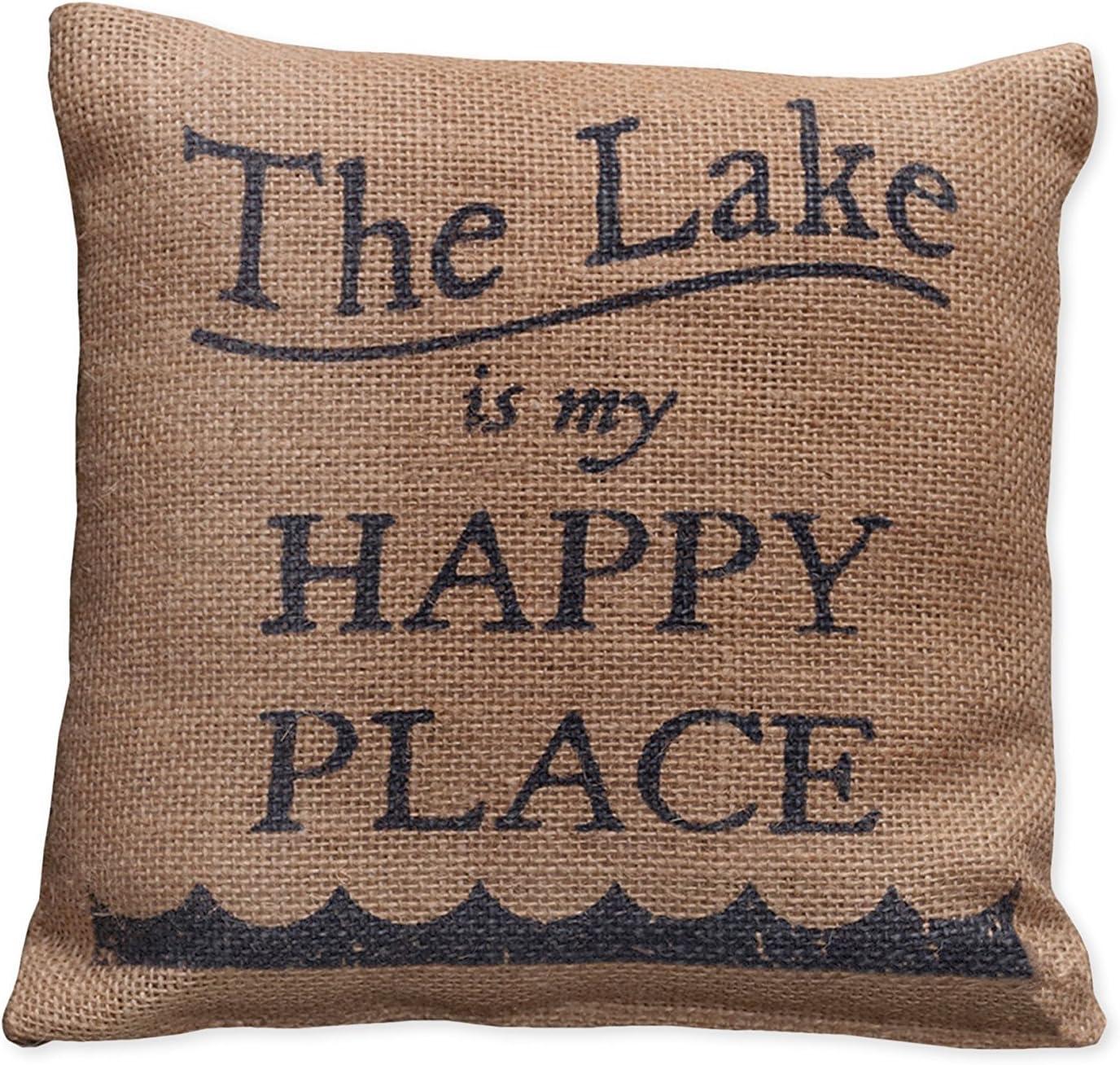 Amazon Com Small Burlap Lake Happy Pillow 8x8 Home Kitchen