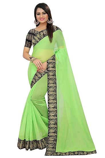 e27468c1a1a086 SilverStar Women s Plain Chanderi Cotton Saree with Kalamkari Printed Blouse  Piece (Green)