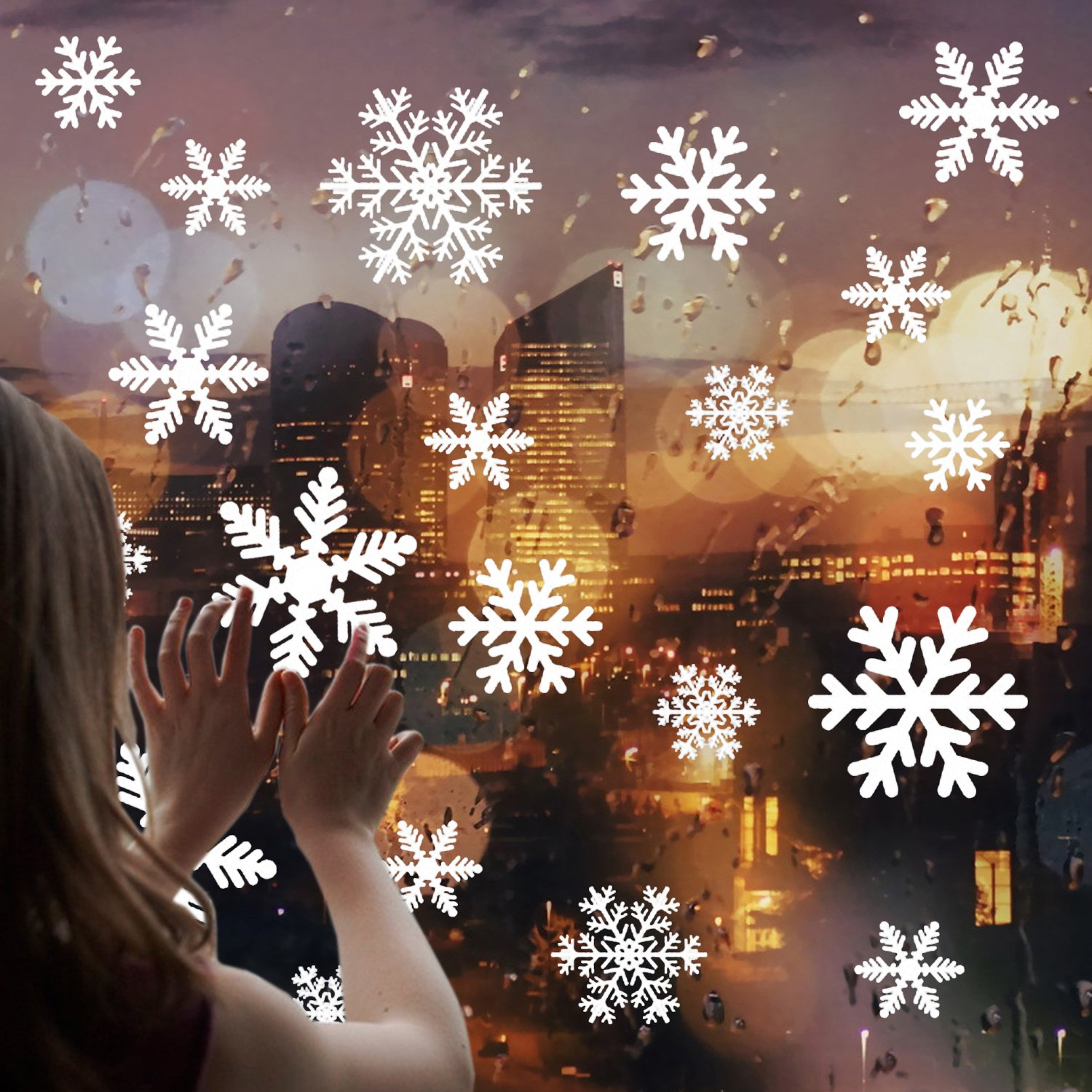 Shxstore Christmas Window Decorations Clings Decal Glass Stickers Of Snowflake Moon Castle Reindeer Christmas Tree For Holiday Winter Decoration Supplies