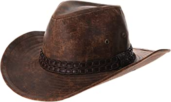 WITHMOONS Cowboy Cappello a Tesa Larga Indiana Jones Hat Weathered Faux  Leather Outback Hat GN8749 748bca1fa430