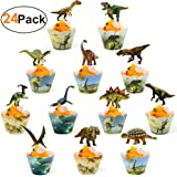Dinosaur Cupcake Wrappers And Toppers Dinosaur Cupcake Cups 24 Pack Jurassic World Party Supplies Boys Kids Dino Party Supplies Birthday Decorations
