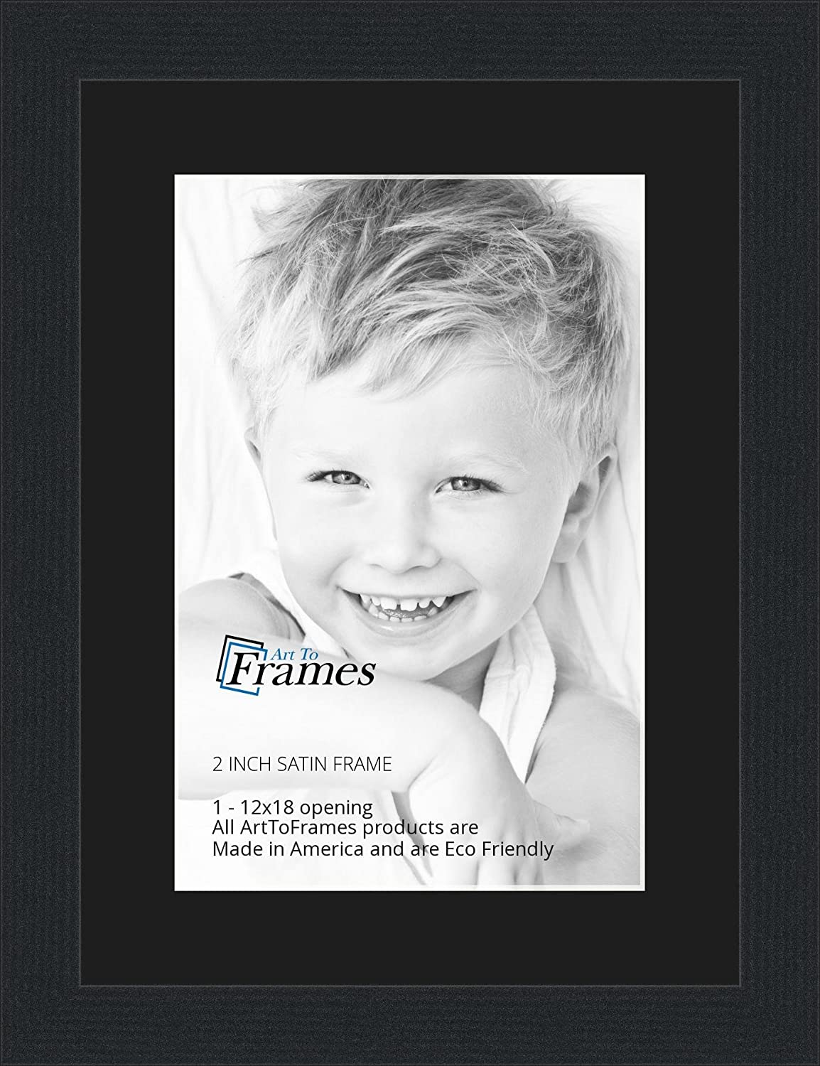 amazoncom 12x18 12 x 18 picture frame satin black 2 wide with a 2 double mat single frames
