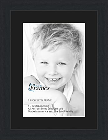 12x18 12 x 18 picture frame satin black 2 wide with