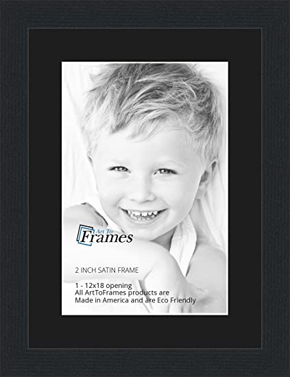 Amazon.com - 12x18 / 12 x 18 Picture Frame Satin Black .. 2\'\' wide ...