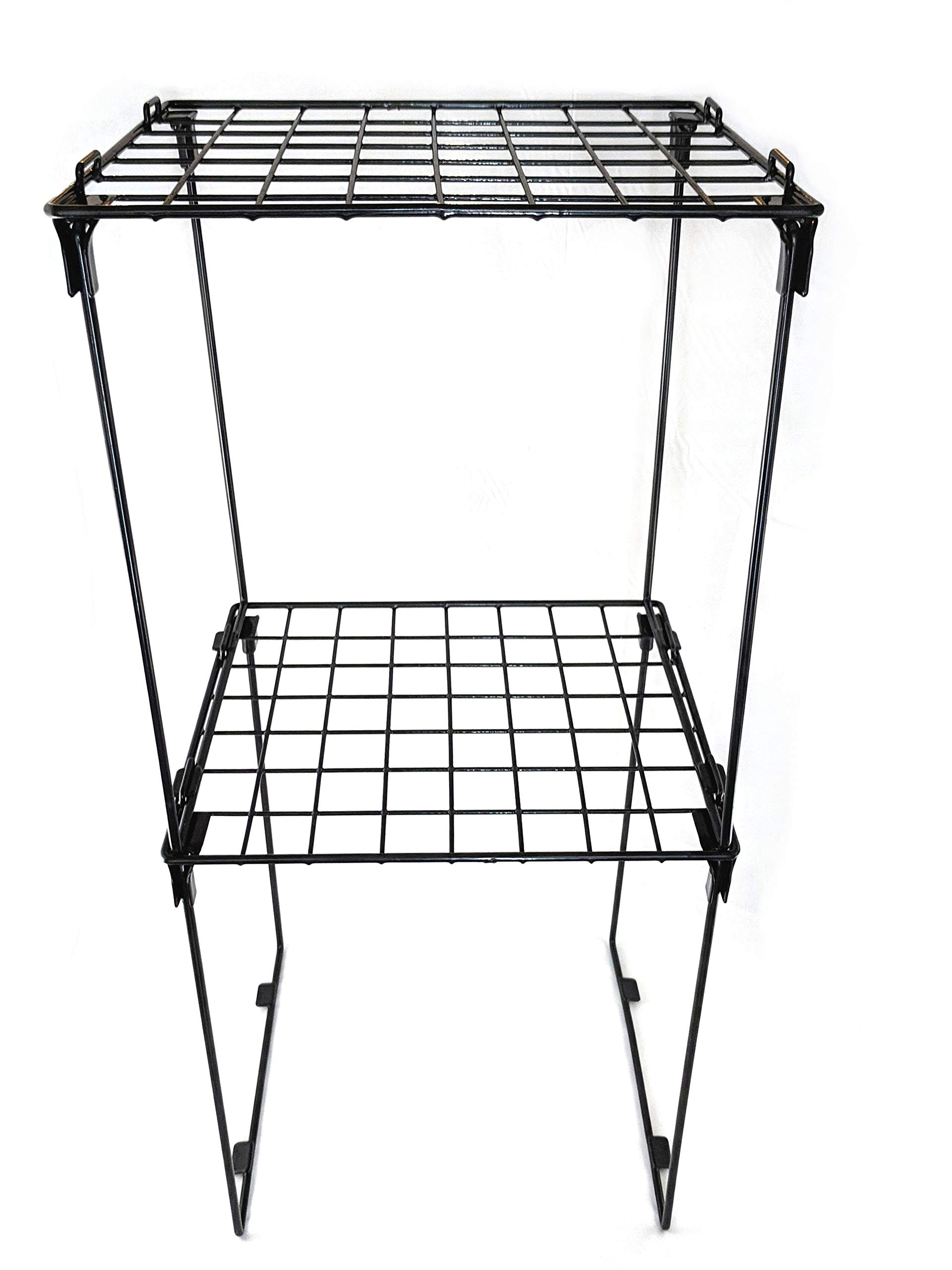 Set of 2 Stackable 12'' Height Locker Shelf for School, Office, Gym or Home Use (Black)