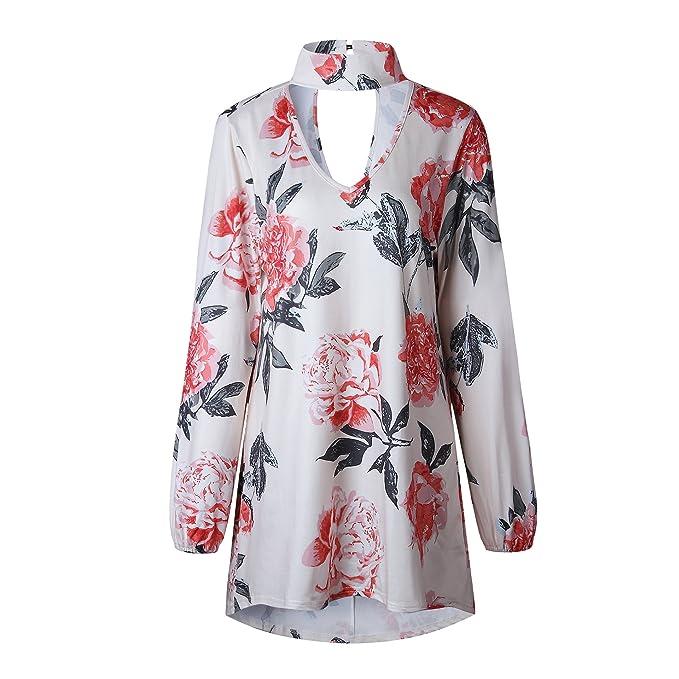 c1ce3250635f2 Xuan2Xuan3 Women Flower Print Long Sleeve Boho Casual Loose Tunic Cotton  Pattern Blouses Tops Shirts