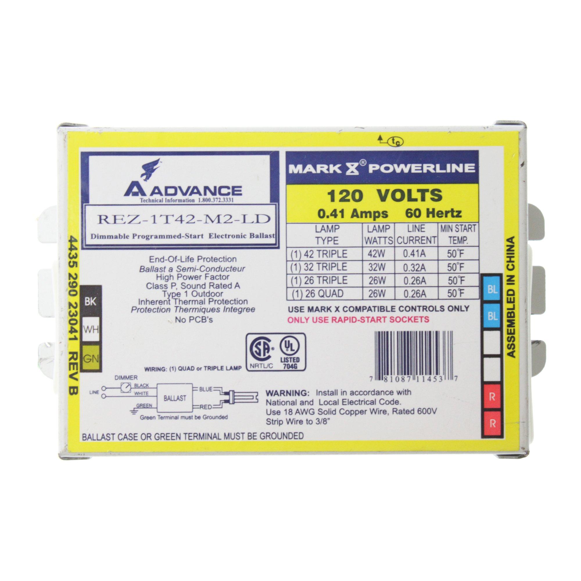 Advance Ballasts REX-1T42-M2-LD Dimmable CFL Ballast, 1-Lamp, 42W Triple, 120V