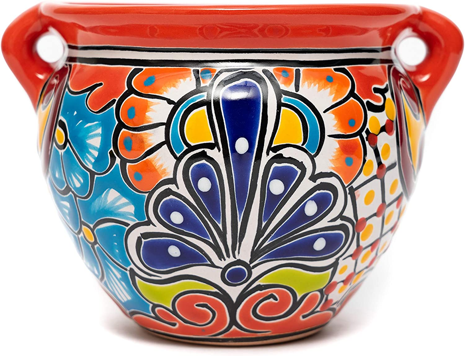 Enchanted Talavera Mexican Ceramic Flower Pot Plant Pot Succulent Pot Garden Planter Home Décor (Red)