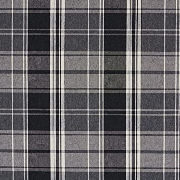 Amazon Com Onyx Black And Gray Plaid Damask Upholstery Fabric By