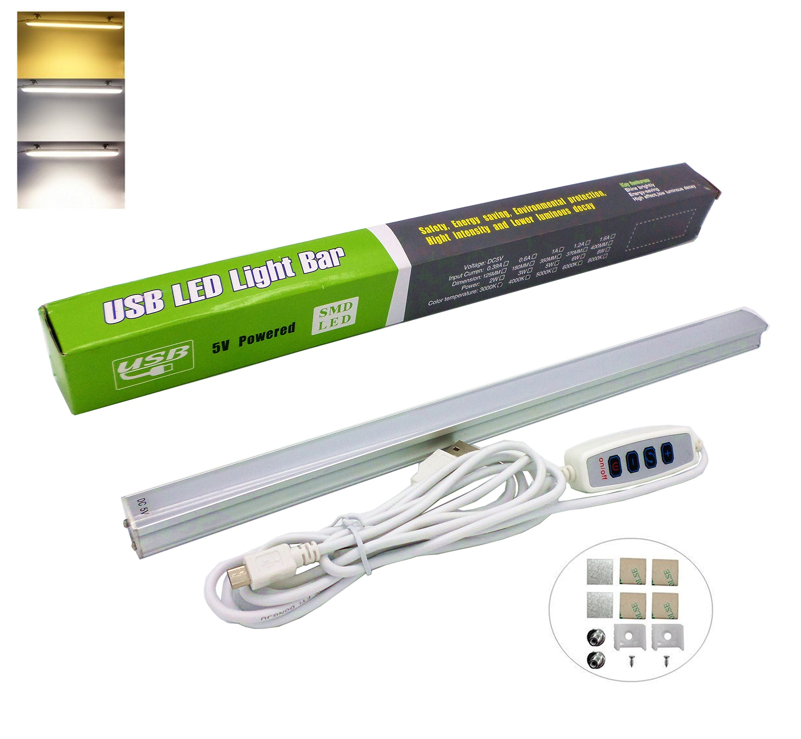 UNOSEKS Dimmable USB LED Under Cabinet Lighting,Eye-care Desk Lighting,Bookcase Lighting - Dim from Warm White to Cold White - 13 Inch, Adhesive and Magnet Mounted Accessories Included
