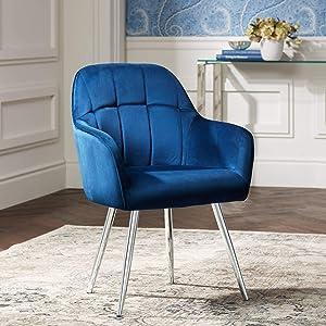 Prentice Blue Velvet Modern Dining Chair - 55 Downing Street