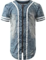 Mens Baseball Jersey Button Down T Shirts Plain Short