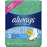 Always Ultra Thin Pads Size 3, Extra Long, Super Absorbency With Wings, Unscented, 38 count