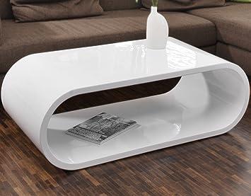 SalesFever Couch-Tisch weiß Hochglanz 120x60cm aus MDF oval | Nofin ...