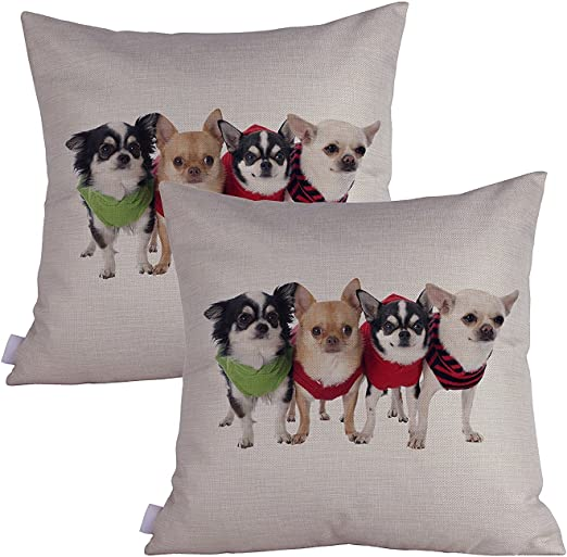"""Pillow Chihuahua Cover Decorative 18/"""" Case Home Dog Animal Pattern Linen Cushion"""