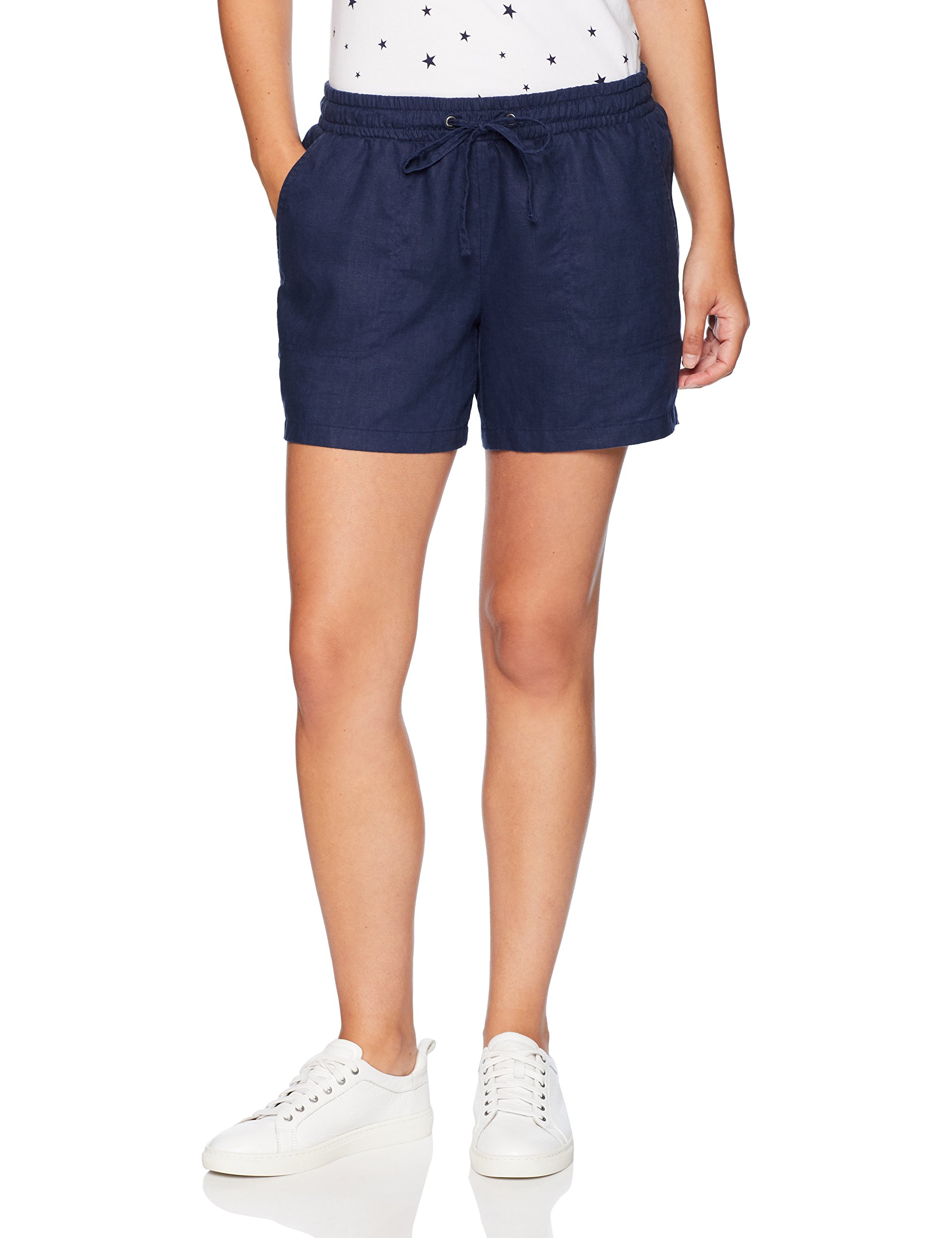 Amazon Essentials Women's 5'' Drawstring Solid Linen Short, Navy, Large