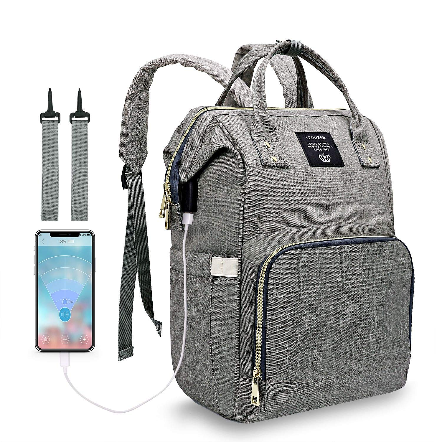 LEQUEEN Mummy Maternity Nappy Diaper Bag Large Capacity Bag Travel USB Backpack