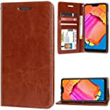 unisTuff Impact Resistant Artifical Leather Wallet Folio Flip Cover for Mi Redmi 6 Pro (Executive Brown)