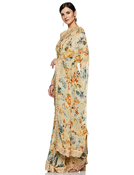 28ea72b140068a Craftsvilla Georgette Saree with Blouse Piece  (MSHAN26107896690 Multicolor Free Size)  Amazon.in  Clothing   Accessories
