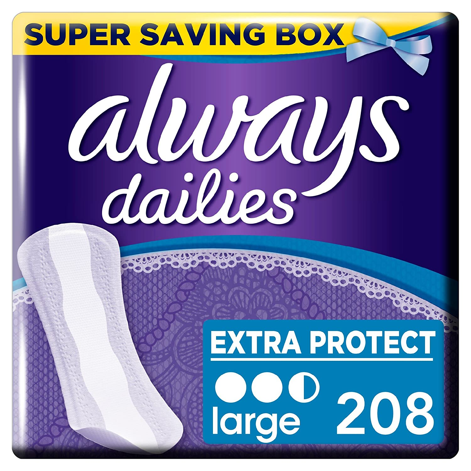 Always Dailies Extra Protect Panty Liners Large Liners, Breathable, Flexible and Comfortable with Absorbent Core, 52 x 4 - Super Saving Box Procter & Gamble 83732721