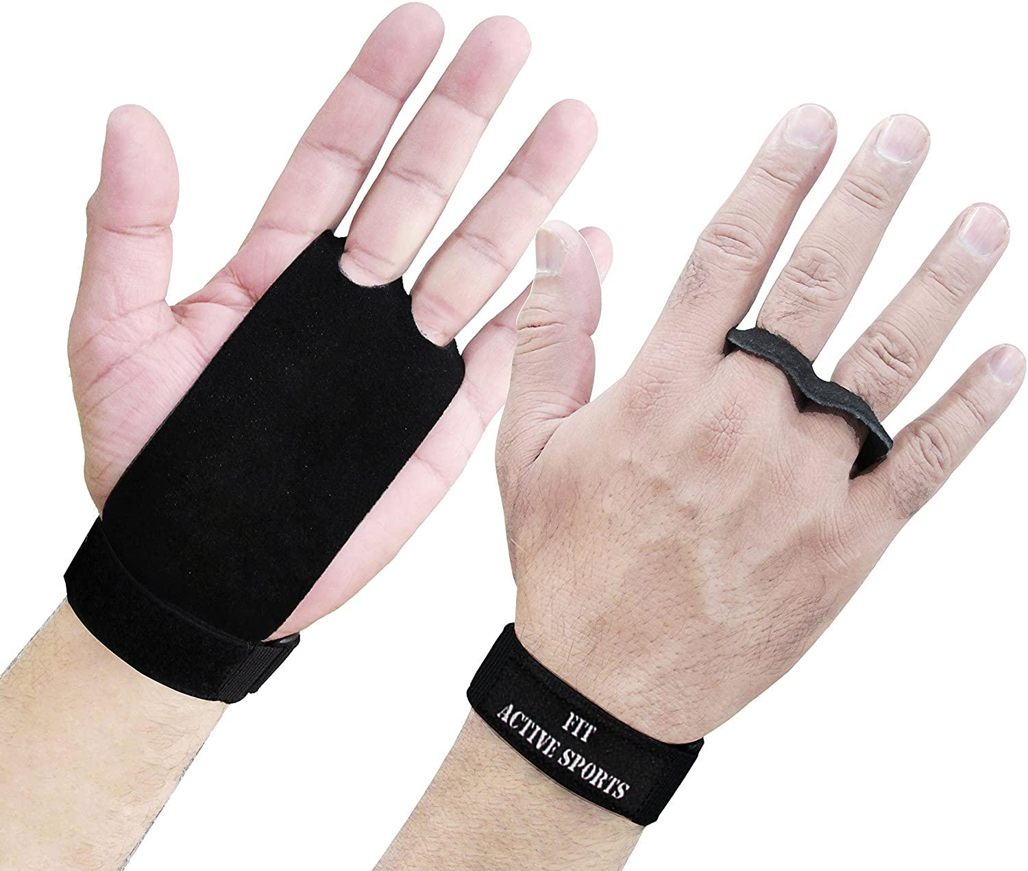 Protects Palms Black Suede Leather Neoprene Wrist support Training Gymnastics Grips Crossfit Hand Wrist Lift Gloves perfect for WOD pullups Weight Lifting Exercise Kettlebell Chin ups